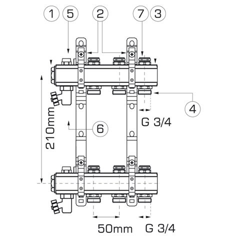 Distribuitor colector Ferro - 7 circuite